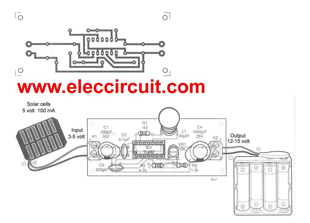 pcb of make solar aa battery charger by tl497 learner this is solar aa battery charger circuit using switching step up voltage ic from the low voltage solar to higher from charging 4 xaa or aaa size nihm