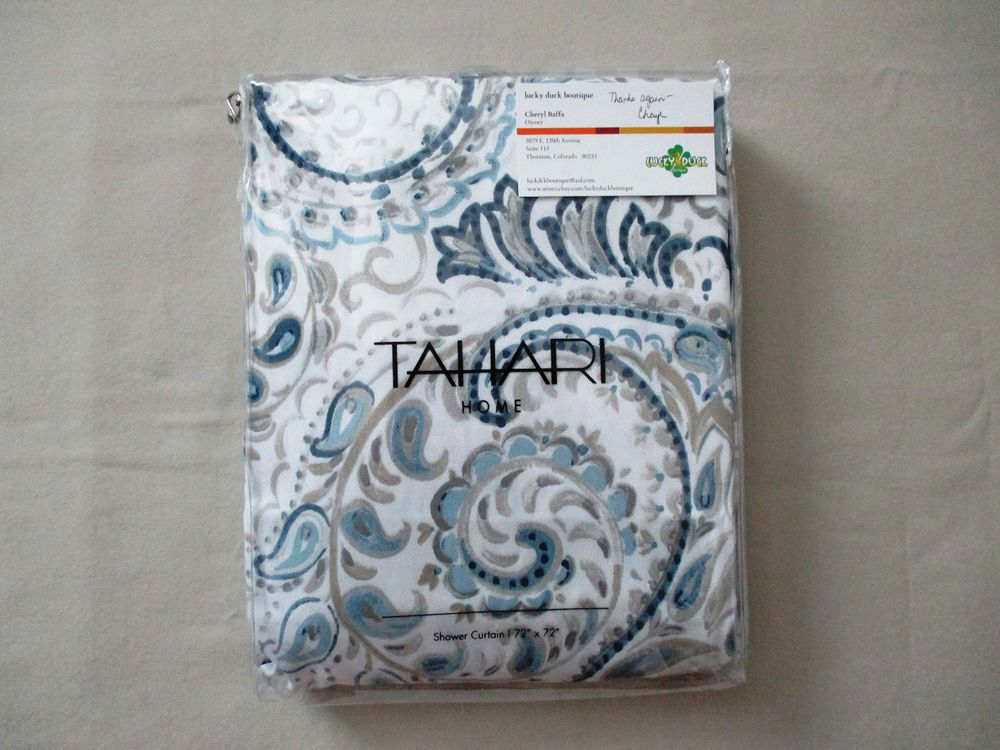 NEW Tahari Home Fabric Shower Curtain HAYDEN PAISLEY Blue, Tan ...
