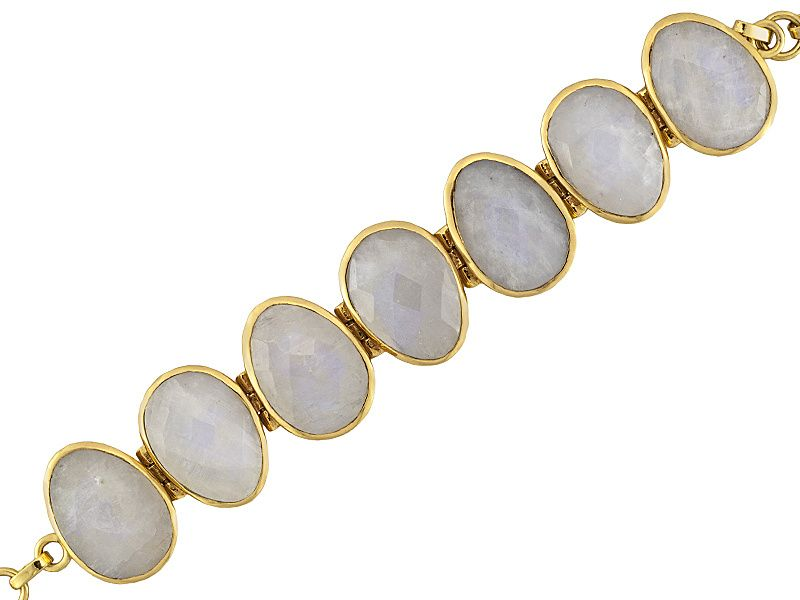 Slip this sleek moonstone bracelet on with a white maxi dress and feel royal | Moonstone 18k Yellow Gold Over Bronze Bracelet