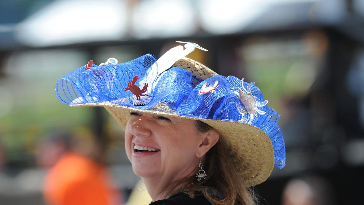 Chesapeake Bay-themed hat at Preakness 2014 -- At Preakness 2014, Karen Rund, from Finksburg, sports a Chesapeake Bay-themed hat made by her sister.