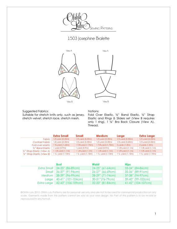 Modern Lingerie Bralette Sewing Pattern Ohhh Lulu 1503 Josephine ...