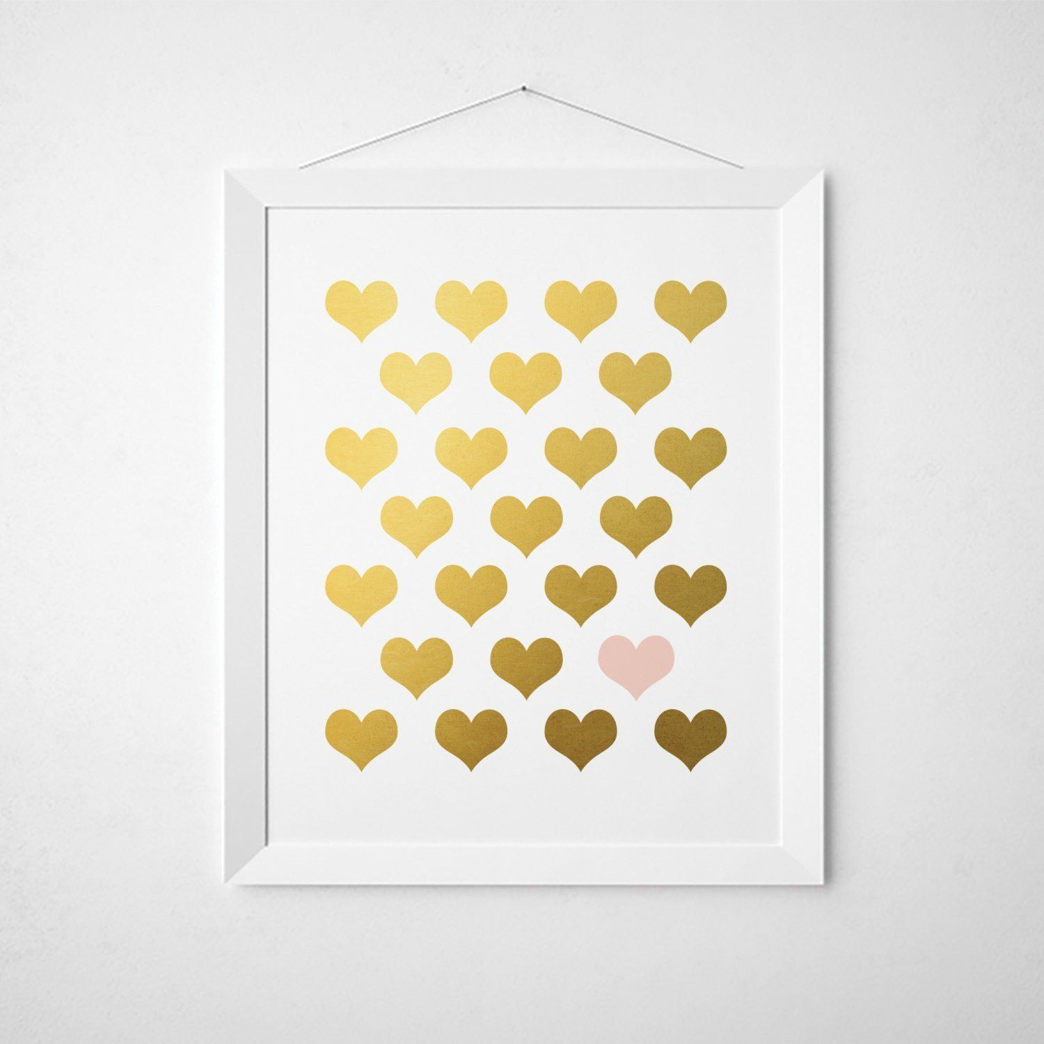 Blush Pink Gold Hearts - Faux Gold Foil Wall Art | Wall Prints ...
