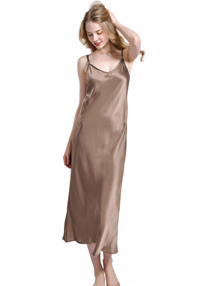 e55f44702eac Sexy V-Neck Slip Long Silk Nightdress For Women