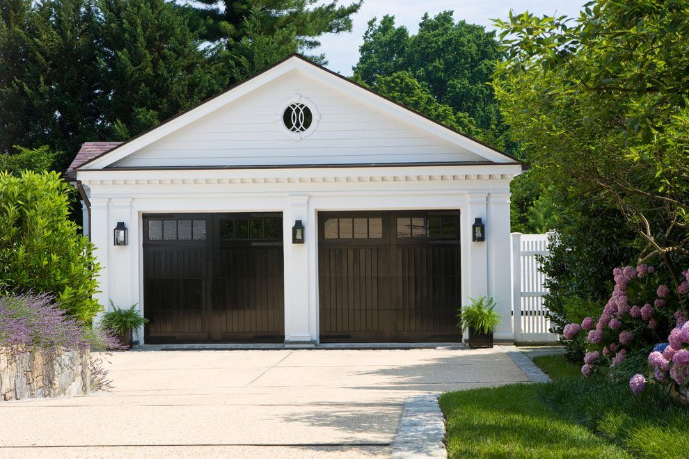 Detached Garage Plans Farmhouse With Black Outdoor Wall Lights And
