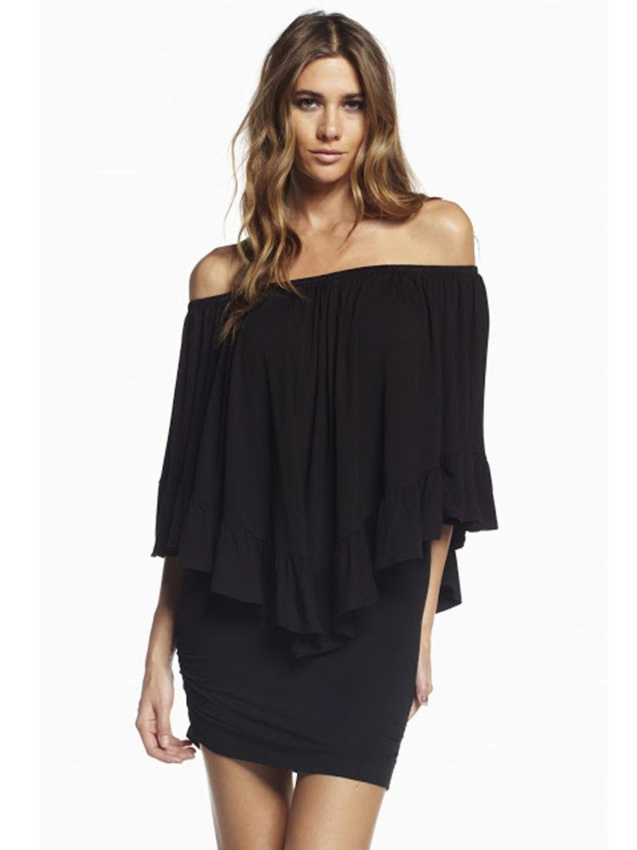 Elan International Off Shoulder Overlay Ruffle Dress In Black ...