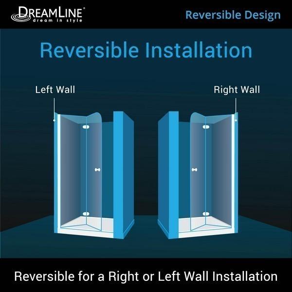 Dreamline Elegance 32 1 4 In To 34 1 4 In X 72 In Semi Frameless Pivot Shower Door In Chrome Shdr 4132720 01 Frameless Shower Doors Shower Doors Frameless Shower