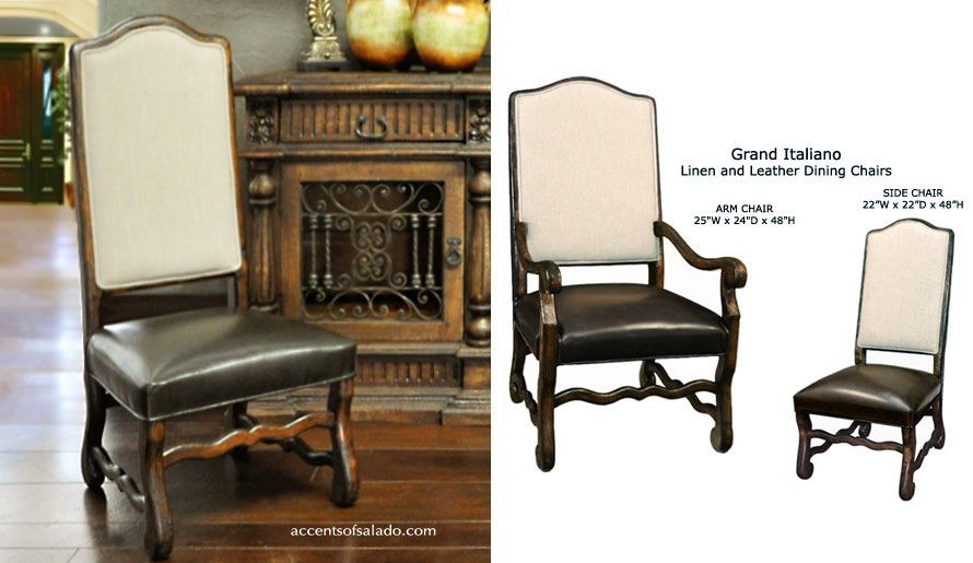 Dining Chairs Old World Linen And Leather