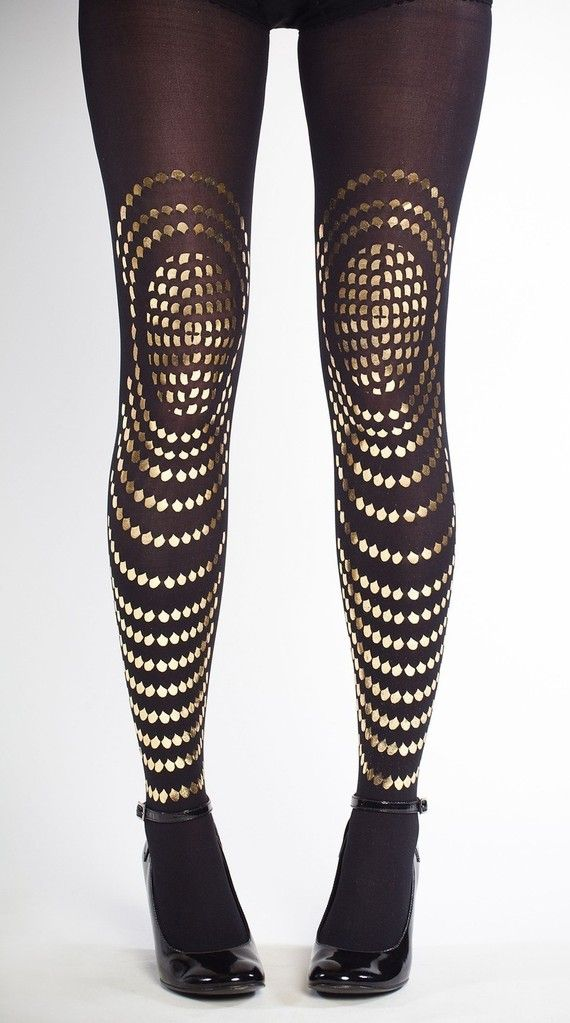 247a35579f9 This tights are amazing!! Hand printed tights Goldfish gold on black SM  by