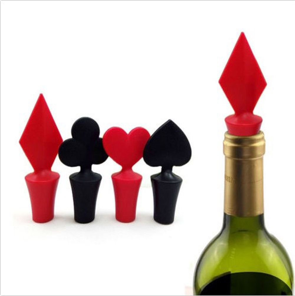 1pcs Color Random Bar Tool Poker Shaped Silicone Vacuum Sealed Wine Bottle Stopper Bottle Stoppers Wine Stoppers Wine Bottle