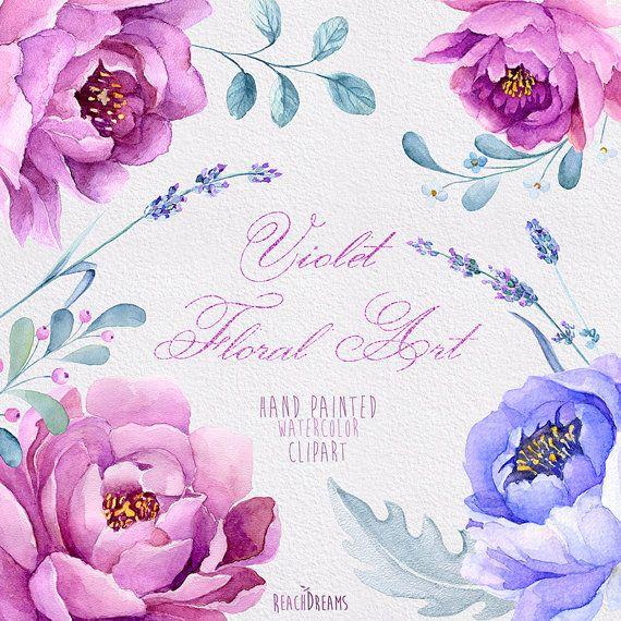 Arte Floral violeta mano pintada acuarela Imágenes por ReachDreams