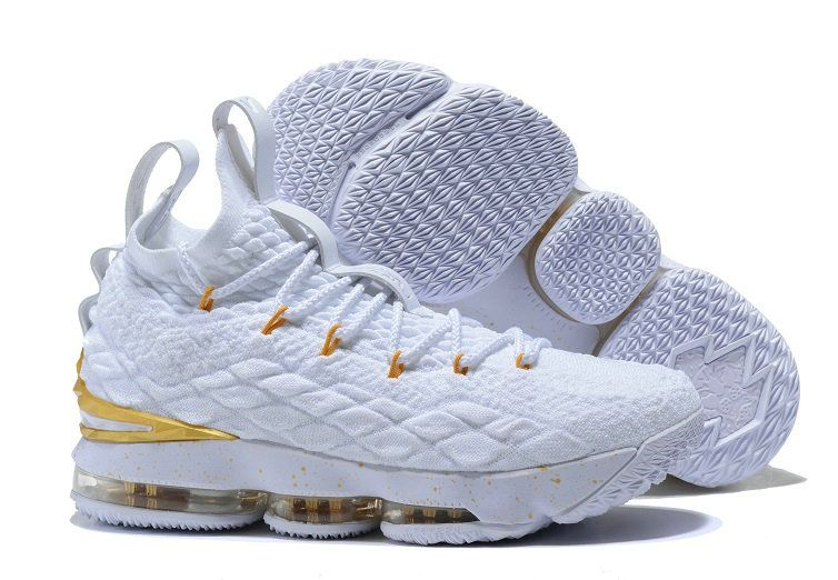 "7770aca0c7b4 Men s Nike LeBron 15 ""White Gold"" Basketball Shoes Free Shipping"