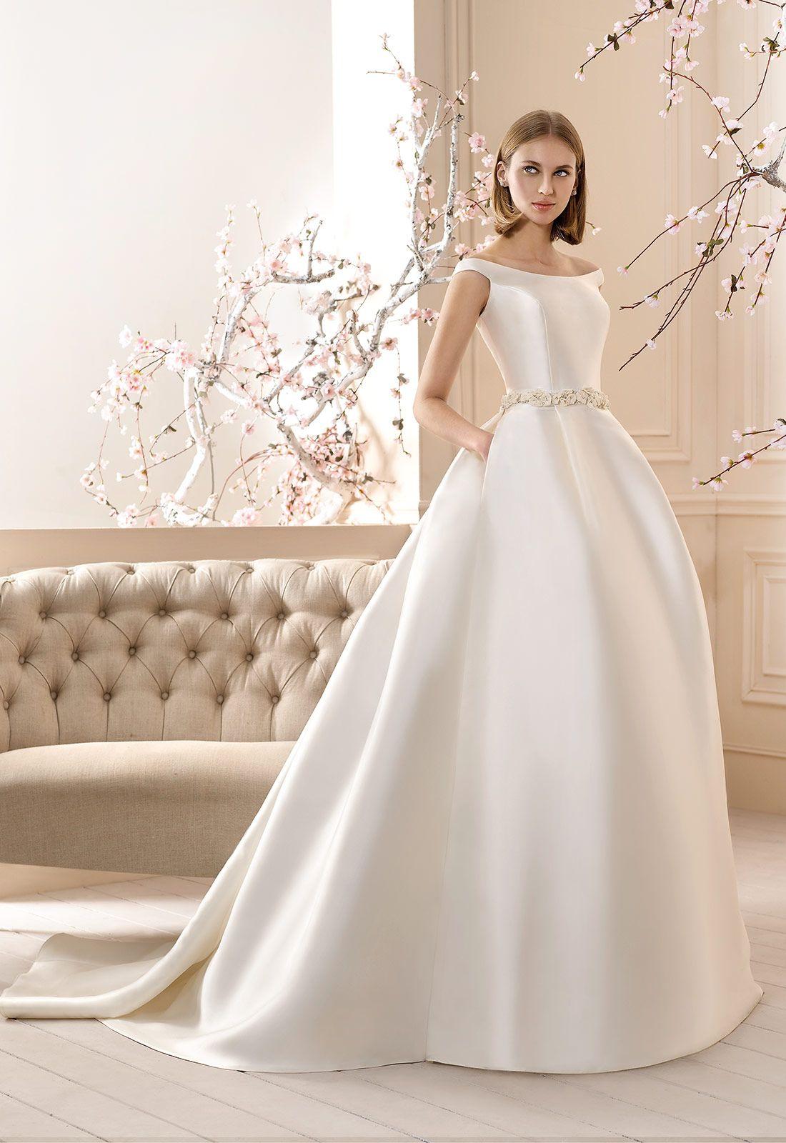 Vestido de novia en mikado corte princesa y bolsillos en falda ...