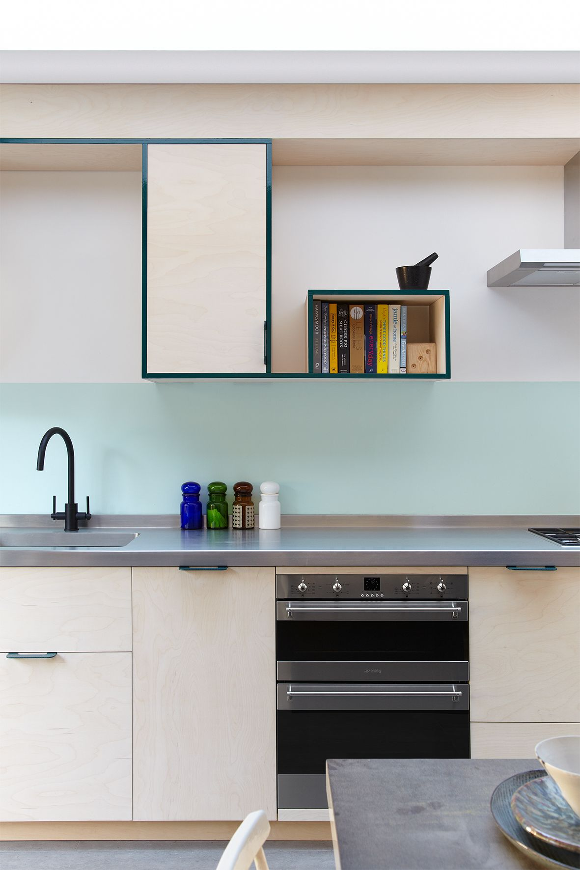 Ply kitchen with stainless steel worktop from http://www.witlof.co ...