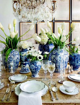 tulips + blue and white + beautiful china