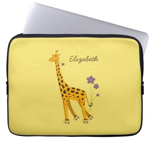 Personalized purple giraffe laptop sleeve with a cute giraffe nibbling on a violet flower and holding some flowers with its tail while skating with roller skates which wheels are made of flowers, on warm yellow background.