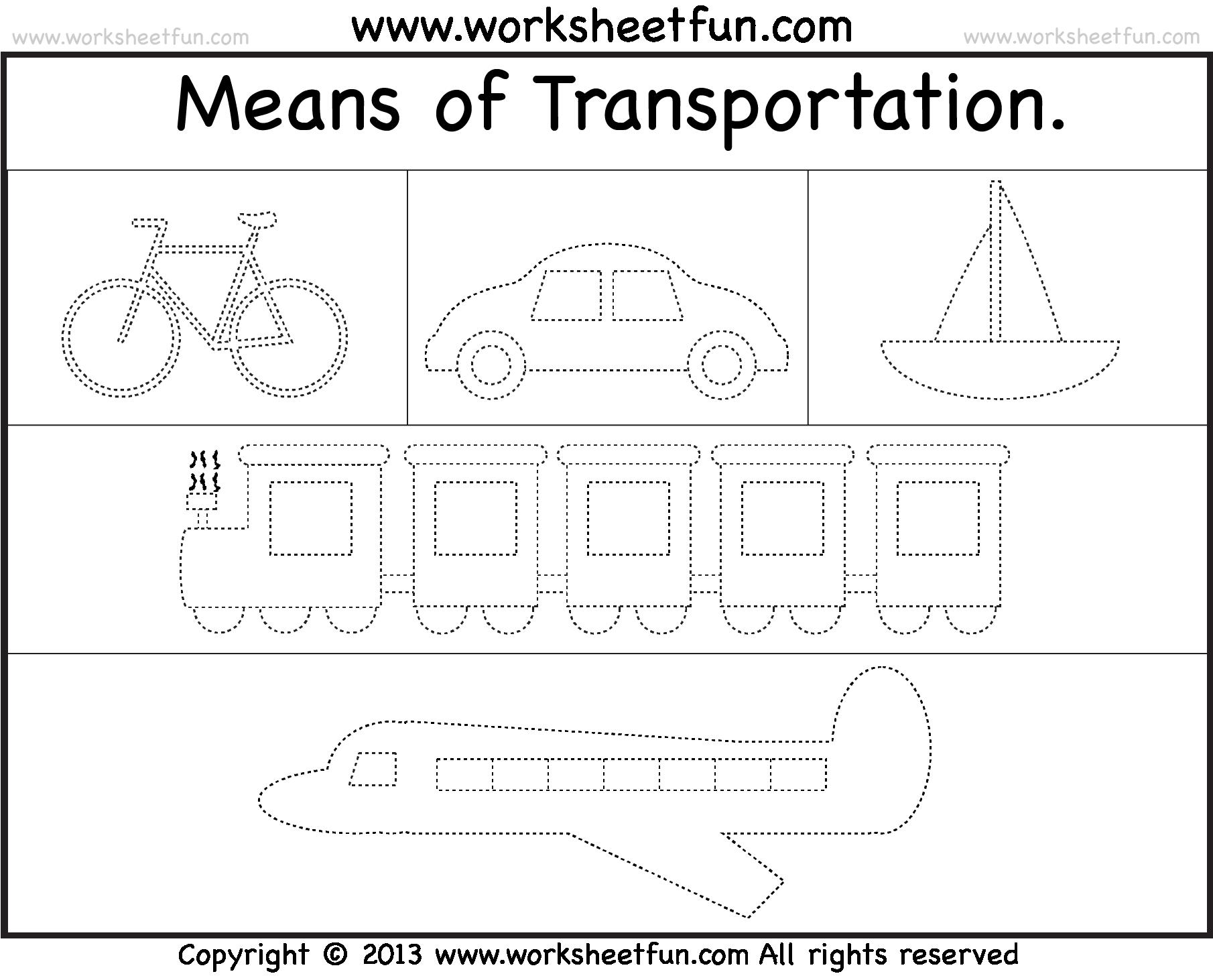 Worksheets On Transport For Kindergarten