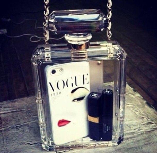 bag chanel bottle clear designer gold silver white phone lipstick make-up black vogue phone case