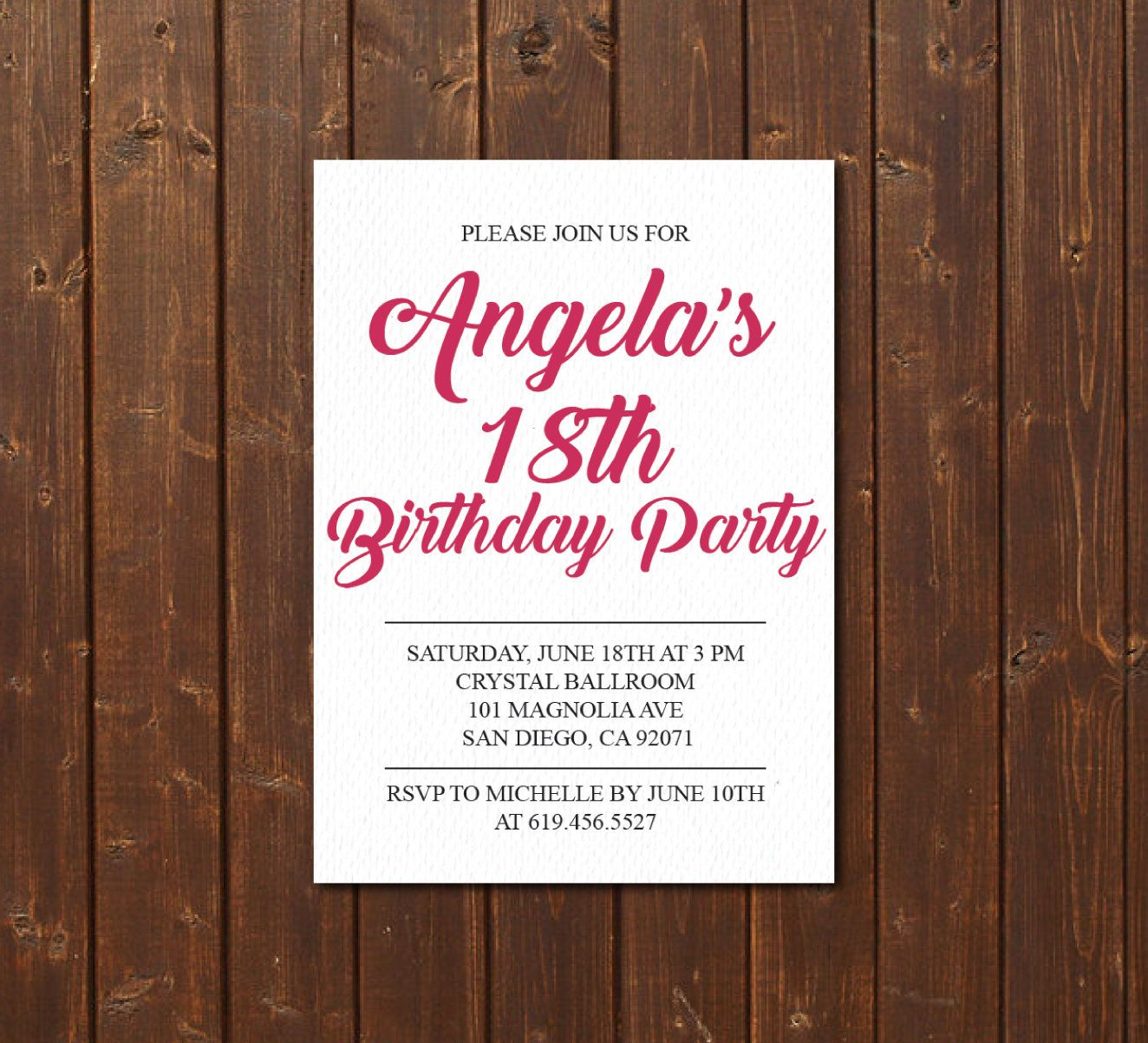 Birthday Invitation Printable Pink White E Card Template Eighteenth By BlessedDayPaper On