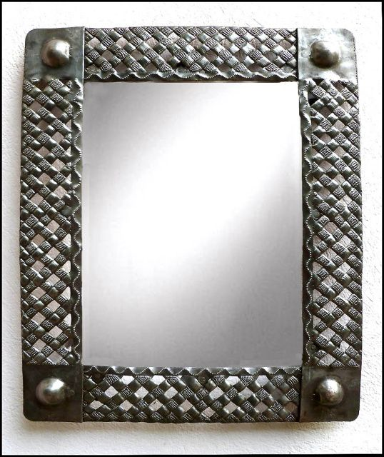 metal art mirror handcrafted basket weave design haitian steel drum art 34 - Metal Mirror Frame
