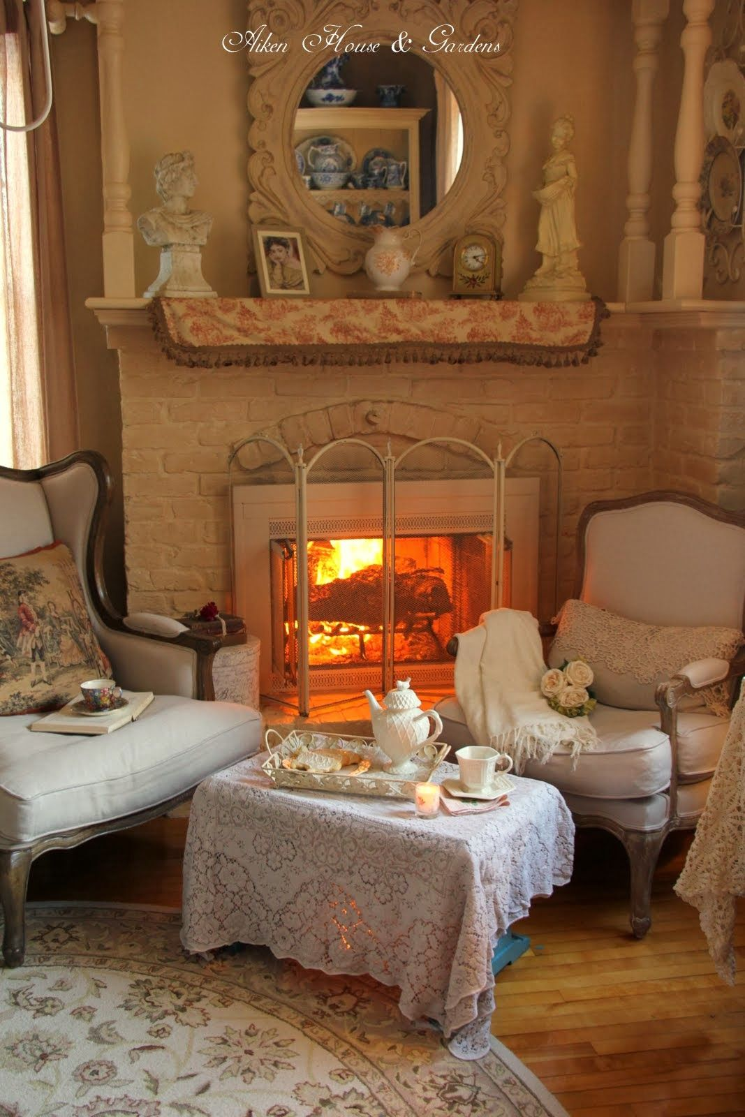In Winter having afternoon tea by the fireplace is comfort