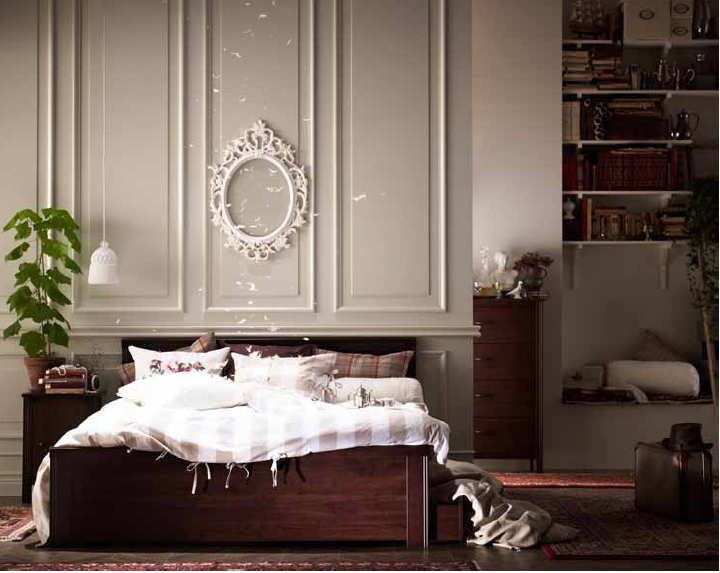 Credenza Ikea Brusali : Brusali bed frame traditional style with bevelled edges and dark