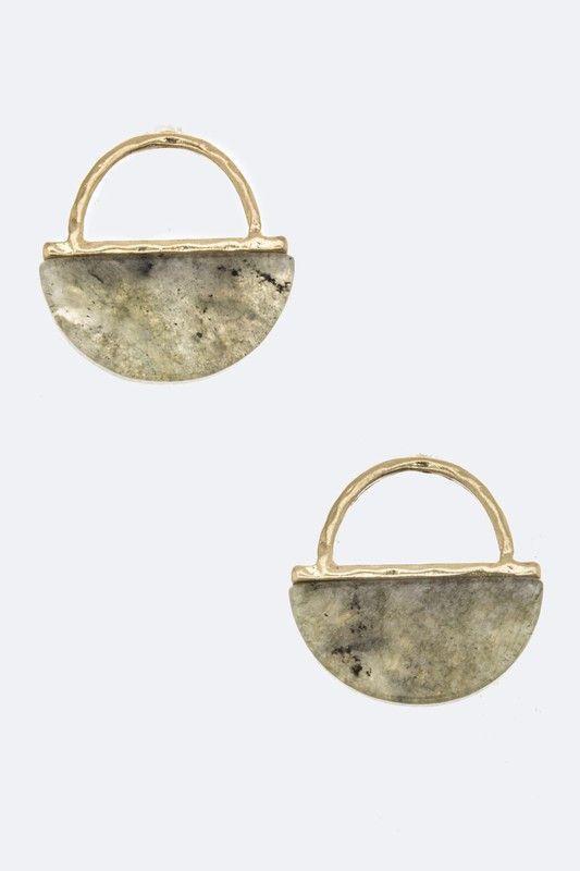 Semi Precious Stone Stud Earrings