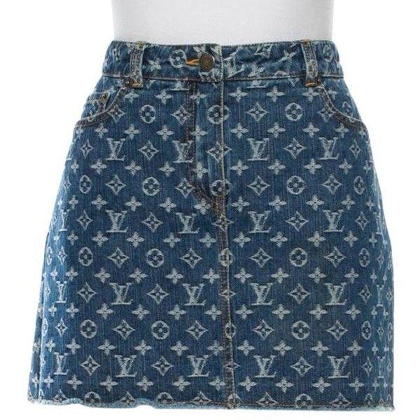89e4646cf8 Louis Vuitton Medium Wash Blue Lv Monogram Denim Mini Mini Skirt ($485) ❤  liked on Polyvore featuring skirts, mini skirts, print skirt, print mini  skirt, ...