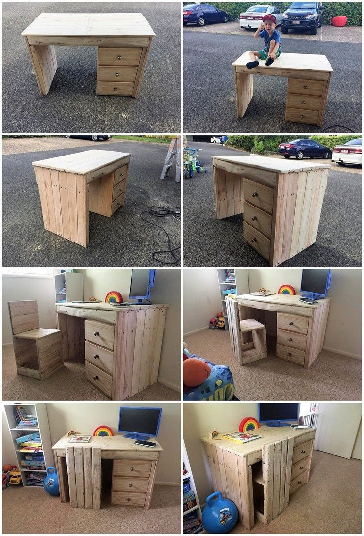 Pallet Tables Projects Diy Pallet Computer Table Or Study Desk For Kids In The Ideas Of Amazing Home Furnitur In 2020 Pallet Diy Wooden Pallet Table Pallet Furniture