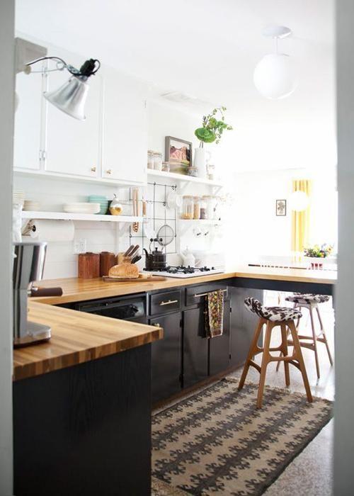 20 idées de cuisine noir et blanc Kitchens, Black kitchens and