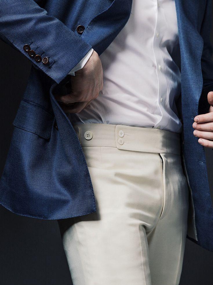 b071d997f52 Michael Andrews Bespoke Custom Blue Blazer with Cream Pants and White Shirt.