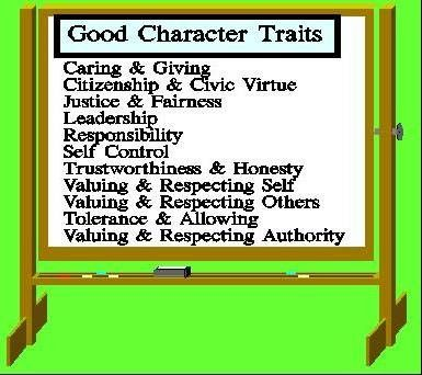 Vocabulary discussion Good character traits - National School - positive character traits