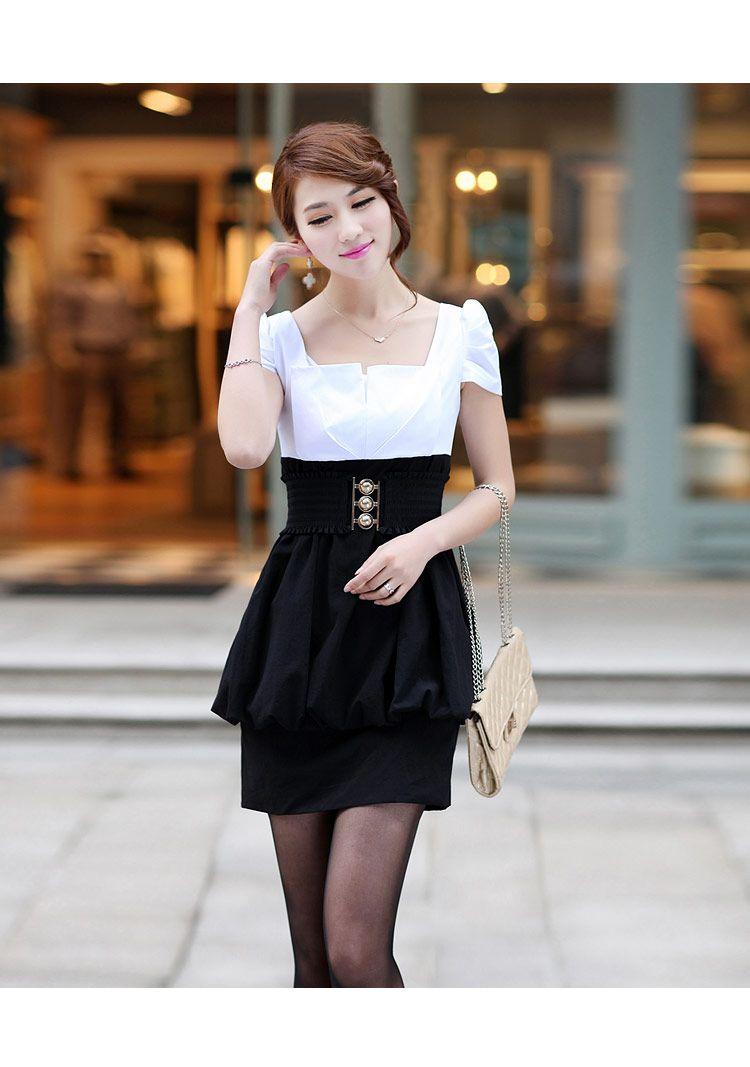 toucino2013 new womens spring Slim thin short-sleeved dress skirt summer Korean bottoming from taobao
