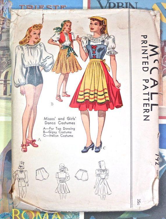 Vintage 1940s Womens Costume Pattern - Tap Dance, Gypsy, Italian ...