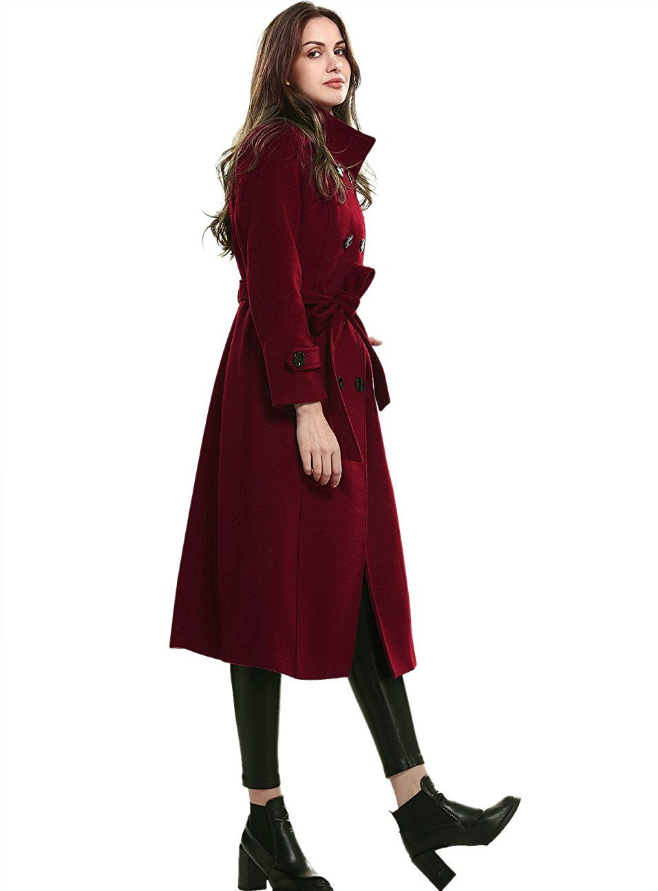 Amazon Com Escalier Women S Wool Trench Coat Winter Double Breasted Jacket With Belts Clothing Wool Trench Coat Women Wool Trench Coat Winter Trench Coat [ 1293 x 956 Pixel ]