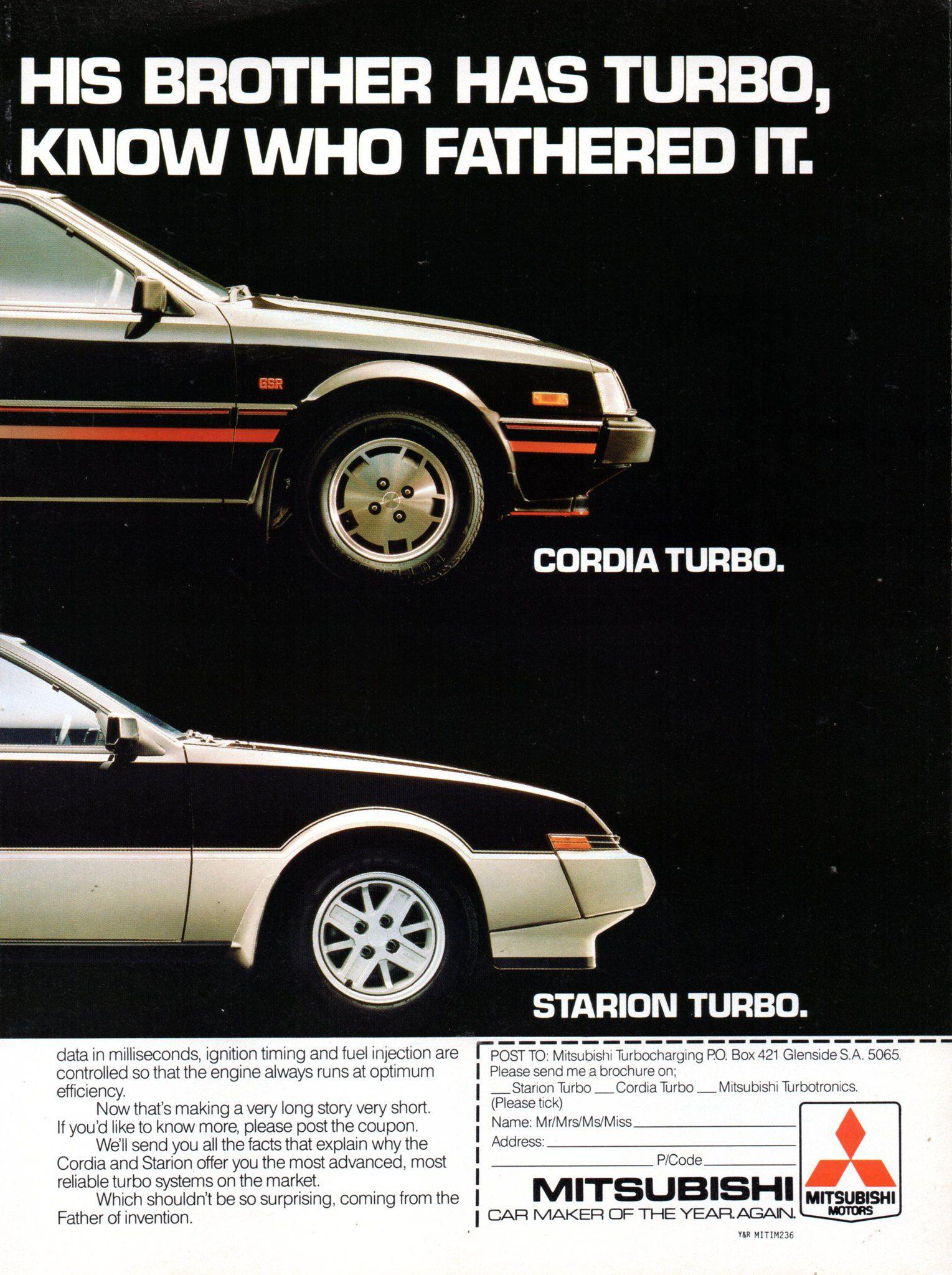 1986 Mitsubishi Cordia Hatchback & Starion 2+2 Turbo Page