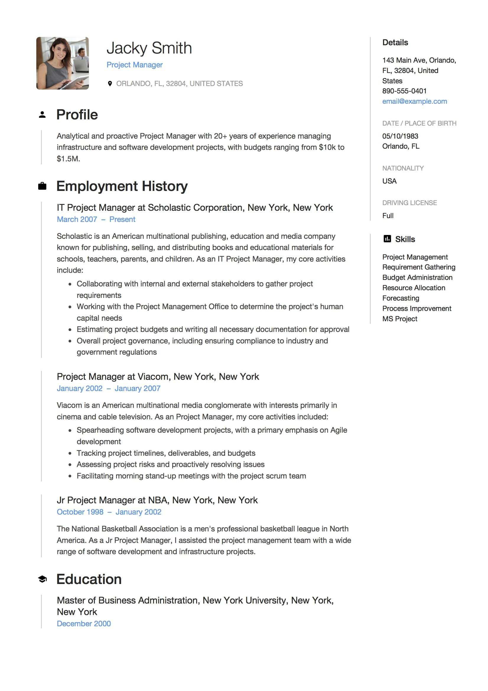 Full Guide Project Manager Resume 12 Samples Word