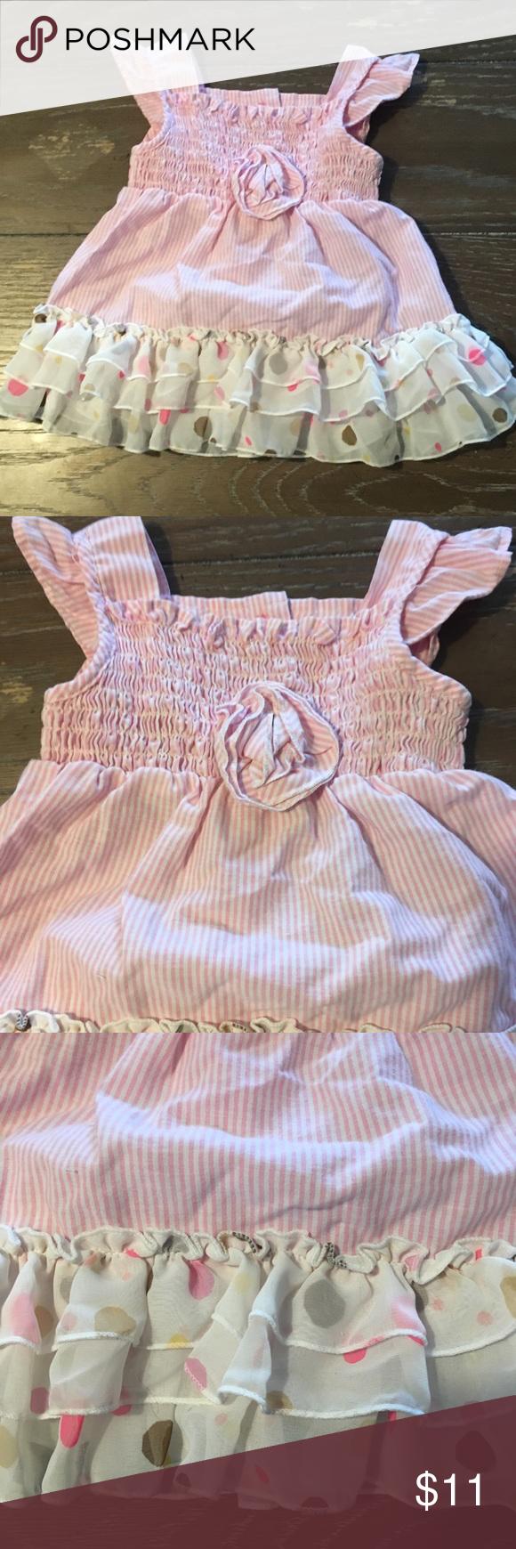 Youngland pink striped dress 20 20 Months pink & white striped dress ...