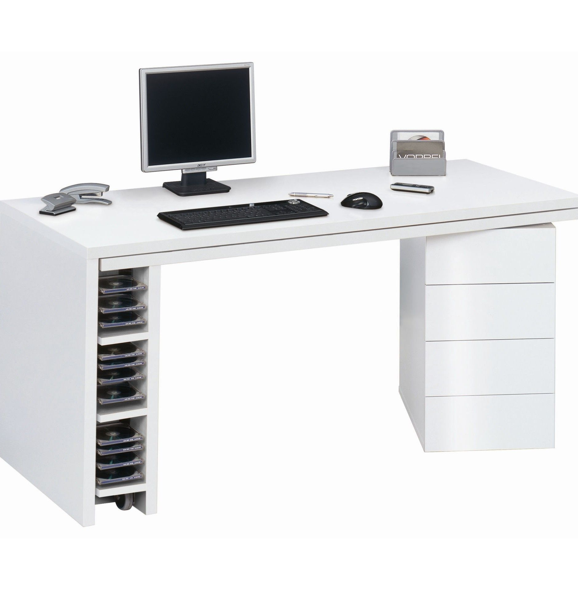 White Computer Desk With Hutch Drawers Keyboard Tray Chair
