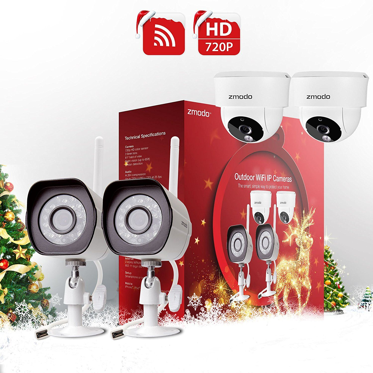 Zmodo hd wireless night vision home video security camera system 2 zmodo hd wireless night vision home video security camera system 2 outdoor 2 indoor diy kit holiday present wrap special product just for you solutioingenieria Gallery