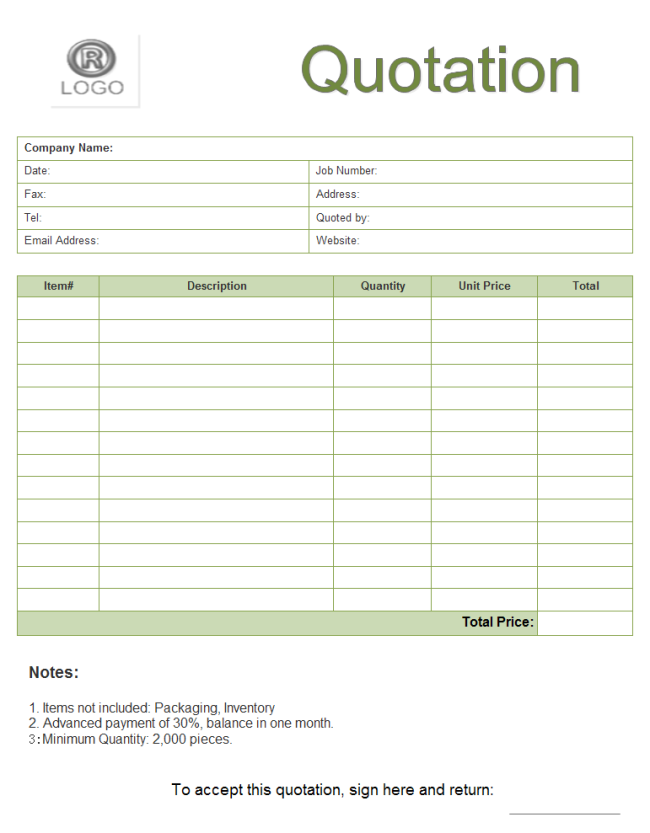 A Free Customizable Quote Form Template Is Provided To Download And Print Quickly Get A Head Start When Creating Quote Template Blank Quotes Estimate Template