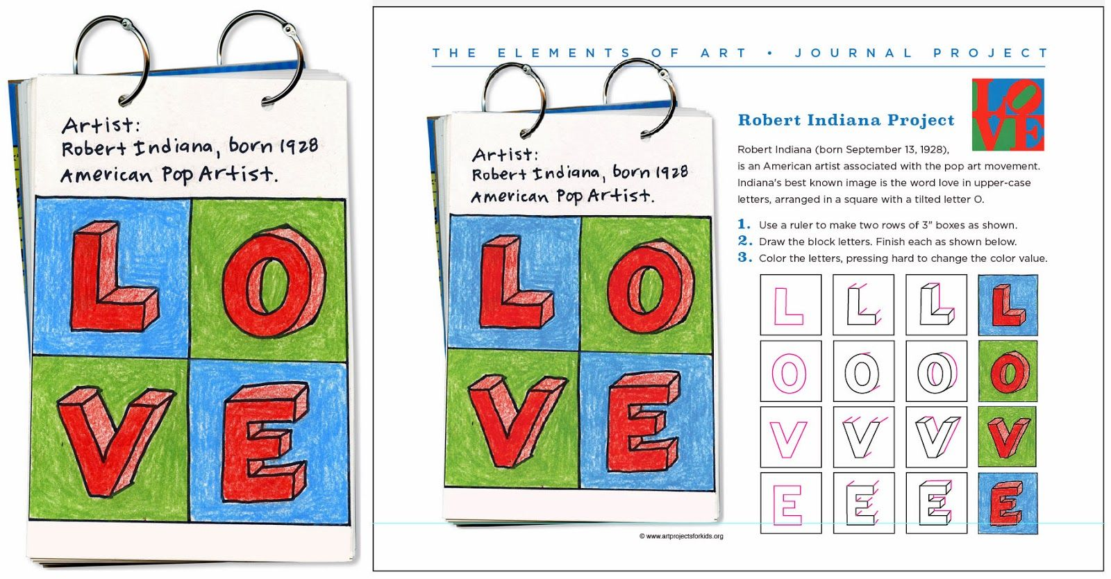 Robert Indiana Art Journal Page Art Projects For Kids Art Sub