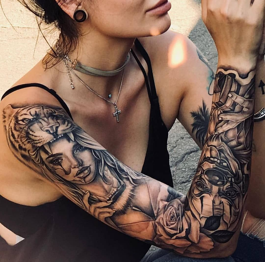 Girl sleeve tattoo pictures