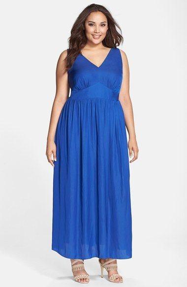 Plus Size Sleeveless Smocked Back Maxi Dress