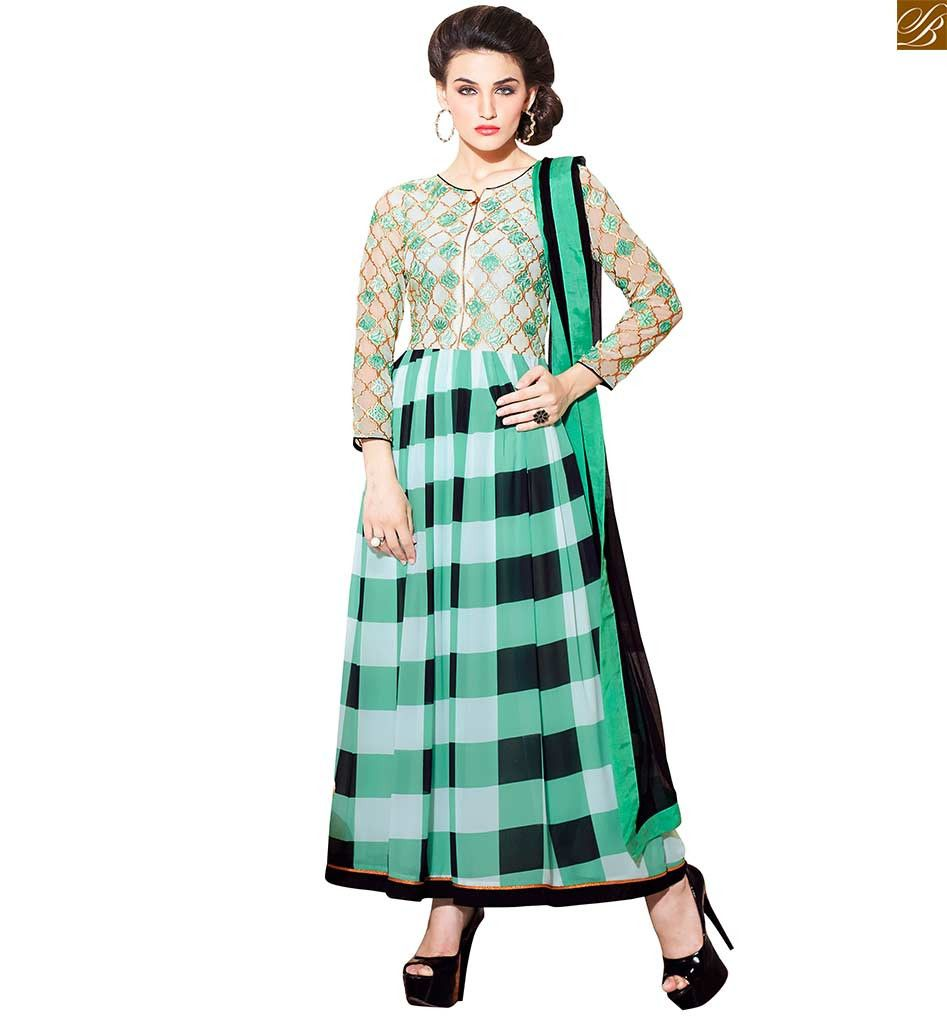 7089e304f0 New Colour Combination For Salwar Kameez Checks Print And Embroidery Off  White, Green And Black