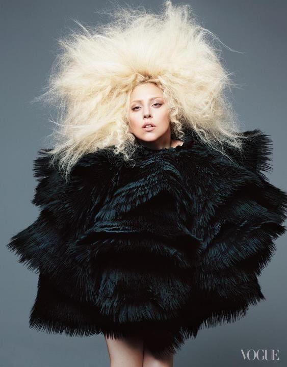 Lady Gaga, Vogue, September 2012.  Wearing Alexander McQueen.