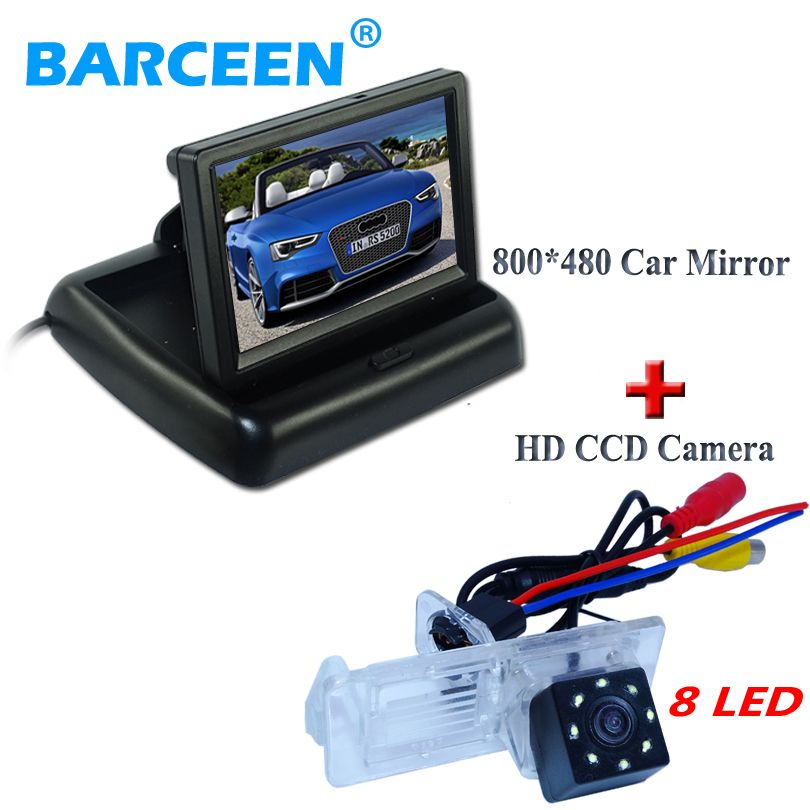 Car Display Monitor 4 3 Wire 8 Led Auto Car Rearview Camera Fit For Renault Fluence Dacia Duster Megane 3 For Nissan Terrano Renault Fluence Waterproof Car