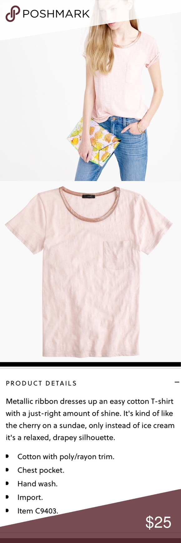 J Crew Pocket TShirt With Metallic Trim  Flaws Metallic And