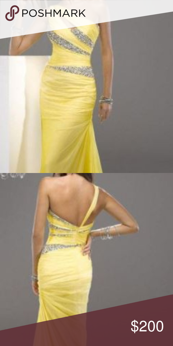64b23a95a678 Jeweled Prom Dress One-shoulder yellow formal gown. Material is chiffon  with a jeweled bodice. Gown was worn twice in pageants. Excellent condition.