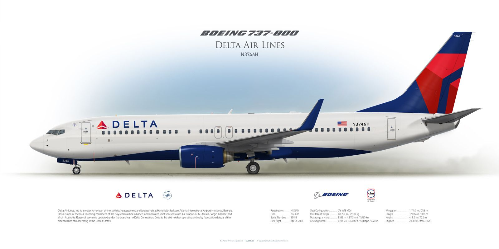 Boeing 737 800 Delta Air Lines N3746h Commercial Aircraft