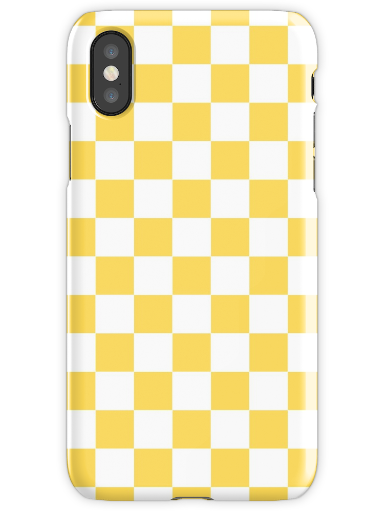 Mustard Yellow and White Checkerboard iPhone X Snap Case